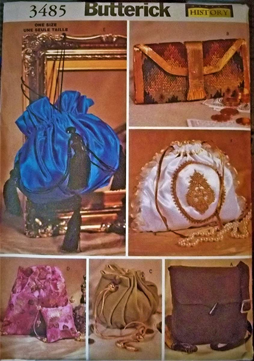 Butterick 3485 Sewing Pattern, Historical Handbags/Purses, One Size
