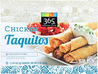 365 Everyday Value, Chicken Taquitos, 1.5 oz, 10 ct, (Frozen)