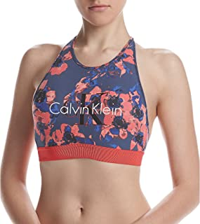 Retro Calvin Unlined High Neck Bralette Blue Inverted Floral