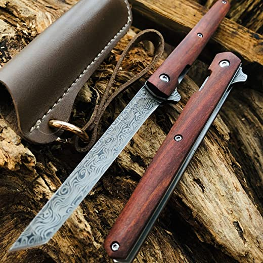 Damascus VG10 Steel Blade Pocket Tactical Fast Open Folding Knives for Outdoor EDC Hunting,Camping,Survival Knife Wood Handles with Nylon Sheath