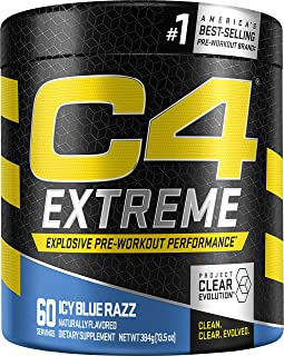 Cellucor C4 Extreme Pre Workout Powder Icy Blue Razz | Sugar Free Preworkout Energy Supplement for Men & Women | 200mg Caf...