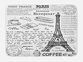 Ambesonne Paris Bath Mat, Traditional Famous Parisian Elements Bonjour Croissan Coffee Eiffel Tower Print, Plush Bathroom Decor Mat with Non Slip Backing, 29.5