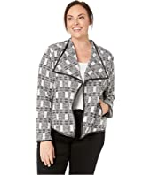Plus Size Jacket with Faux Leather Trim