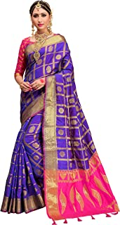 ELINA FASHION Sarees for Women Patola Art Silk Woven Work Saree l Indian Traditional Wedding Ethnic Sari with Blouse Piece