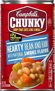 Campbell's Chunky Hearty Bean and Ham with Natural Smoke Flavor Soup, 19 Oz Can (Pack of 12)
