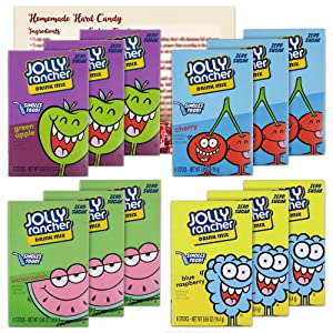 Jolly Rancher Singles to Go Variety Pack of 12  3 Boxes Each - Blue Raspberry, Watermelon, Cherry and Green Apple Drink Mix   Sugar Free - Caffeine Free   Bundled with Ballard Hard Candy Recipe Card