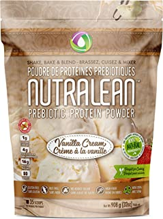 NUTRALEAN Vanilla Cream Prebiotic Protein Powder - 100% All Natural | Peanut-Free | Nut-Free | Gluten-Free | Soy-Free | NO Artificial Sweeteners | Grass Fed Whey | Ideal Keto Shakes & Fiber Supplement