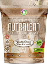 NUTRALEAN Vanilla Cream Prebiotic Protein Powder - 100% All Natural   Peanut-Free   Nut-Free   Gluten-Free   Soy-Free   NO Artificial Sweeteners   Grass Fed Whey   Ideal Keto Shakes & Fiber Supplement