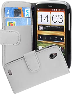 Cadorabo Book Case works with HTC DESIRE X in SNOW WHITE - with Stand Function and Card Slot made of Smooth Faux Leather -...