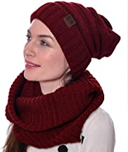maroon hat and scarf set