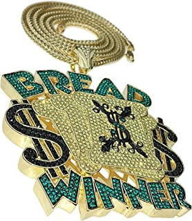 Huge Bread Winner Pendant Chain Iced Custom Style Cash Money Charm 14k Gold Plated Franco Hip Hop Necklace 36