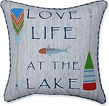 وسادة مثالية في الهواء الطلق | وسادة أريكة الحب الحياة في البحيرة ، 18 × 18 × 5 ، أزرق