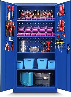 Jan Nowak by Domator24 TC01A - Armario de herramientas (chapa de acero, 185 x 90 x 50 cm), color azul