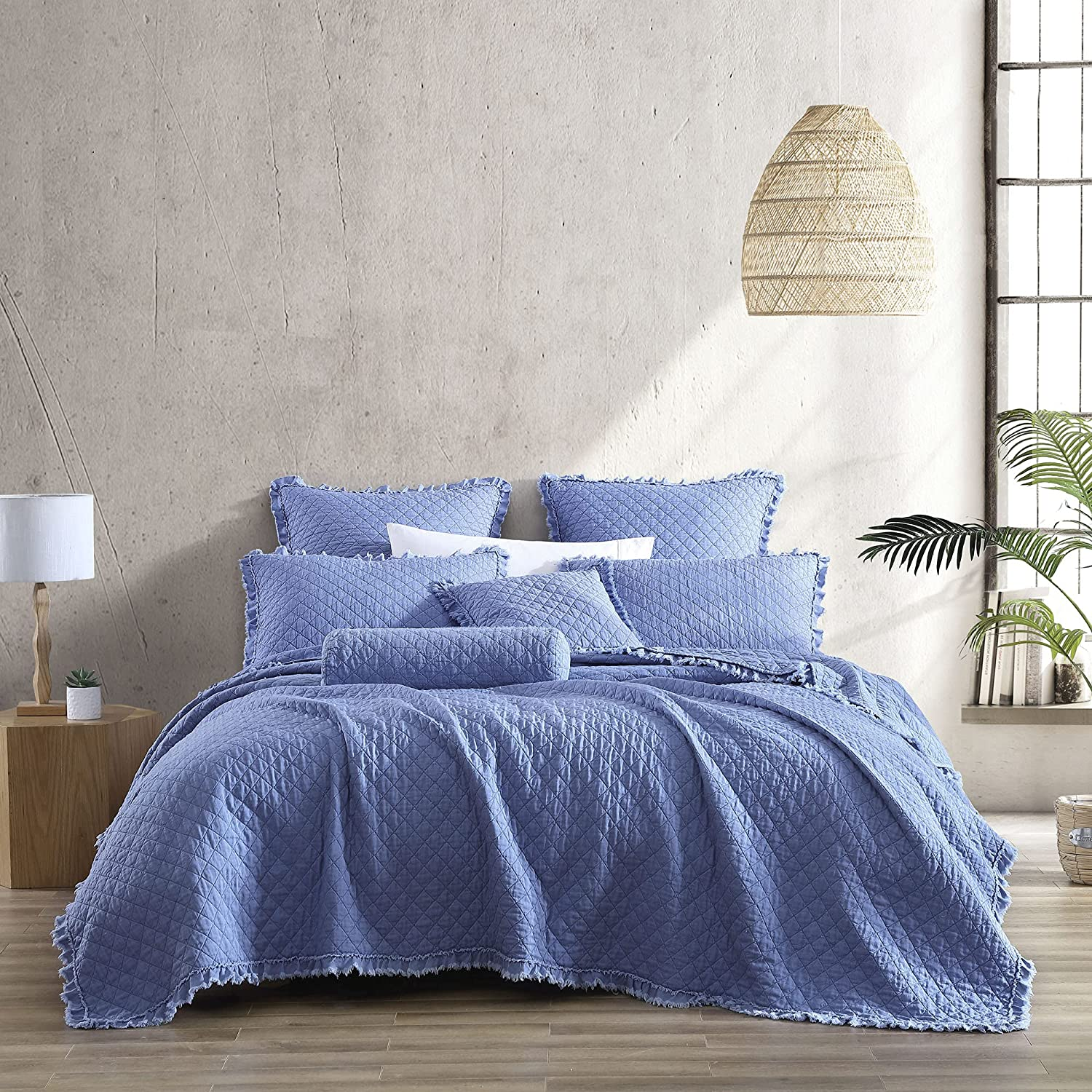 Brielle Home Ravi Stone Long Beach Mall Washed Stitched Ranking TOP6 Solid Set Diamond Quilt