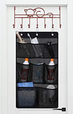 KIMBORA Mesh Shower Caddy Hanging Bathroom Organizer Storage with 2 Large Pockets 3 Rings Hang Curtain Rod for Dorm Cruise RV
