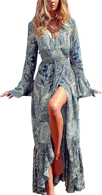 R.Vivimos Womens Summer Long Sleeve Cardigan Sexy Maxi Dresses
