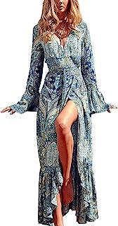 R.Vivimos Women's Long Sleeve Cardigan Maxi Long Dresses