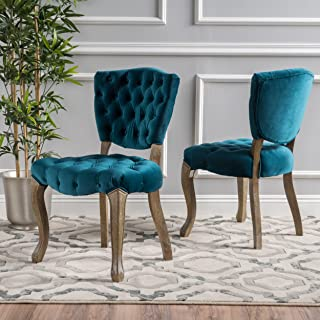 Christopher Knight Home Bates Tufted New Velvet Fabric Dining Chairs (Set Of 2), Dark Teal
