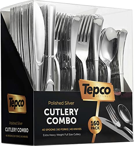 2021 Plastic Silverware Set- Silver Flatware Set- Heavy Duty Cutlery Set outlet sale - Bulk Combo Value Pack 160 count 40 Knives 80 Forks 40 Spoons Party Supplies - outlet online sale Tepco Settings outlet sale