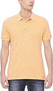 BASICS Muscle Fit Peach Cobbler Printed Polo T Shirt