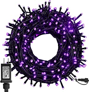 Twinkle Star 300 LED Halloween Fairy String Lights, 98.5ft Outdoor Light Plug In with 8 Lighting Mode, Waterproof Black Wire Mini Lights Christmas Holiday Wedding Party Patio Tree Decorations (Purple)