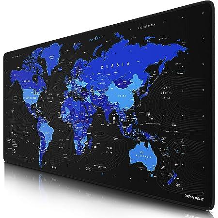 TITANWOLF - XXL Tappetino per Mouse da Gioco - Mousepad Gaming 900 x 400mm – Idrorepellente -Base in Gomma Antiscivolo – MOD. Global Blue