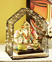 TIED RIBBONS Ganesha Idol Statue Decorative Figurine Showpiece with Temple and LED Light - Lightning Decor Items for Home