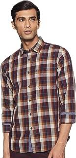 CHEROKEE Men's Solid Regular Fit Casual Shirt (400017733906_Dk-Maroon_M)
