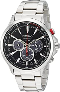 Men's Solar Chronograph Japanese-Quartz Watch with Stainless-Steel Strap, Silver, 21 (Model: SSC493)