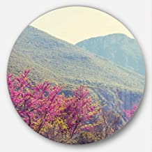 Designart MT12419-C11 Pink Blossoming Flowers in Mountains Floral Disc Metal Artwork- Disc of 11,Pink,11 X 11