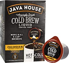 JAVA HOUSE Authentic Cold Brew Coffee, Columbian Black, K-Cup Coffee Pods (12 Count)