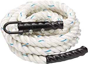 Crown Sporting Goods 1.5 Polydac Gym Climbing Rope, White - Fitness Equipment with Carabiner Eyehook for Physical Educatio...