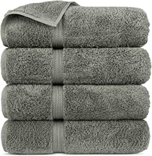 Premium Turkish Cotton 4-Striped Border Eco-Friendly and Long Stable Bath Towel (Gray, Set of 4)