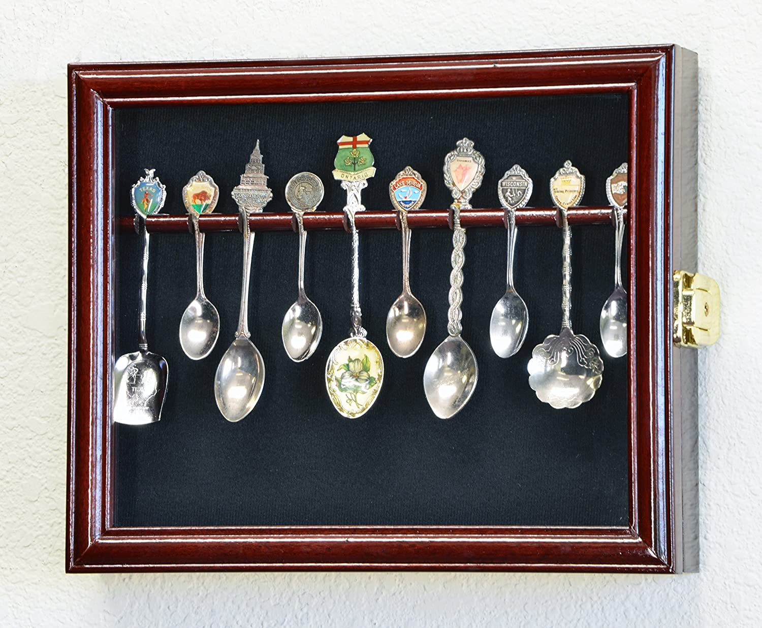 10 Spoon Display Case Cabinet Holder Rack Wall Mounted -Cherry Finish