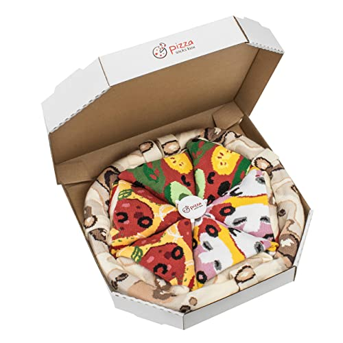 PIZZA SOCKS BOX - Pizza MIX Caprichosa Vege Pepperoni - 4 pares de CALCETINES Divertidos de