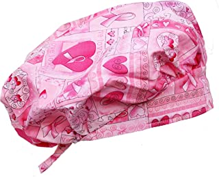 Banded Bouffant Pink Ribbon Breast Cancer Awareness Hearts & Flowers Scrub Cap