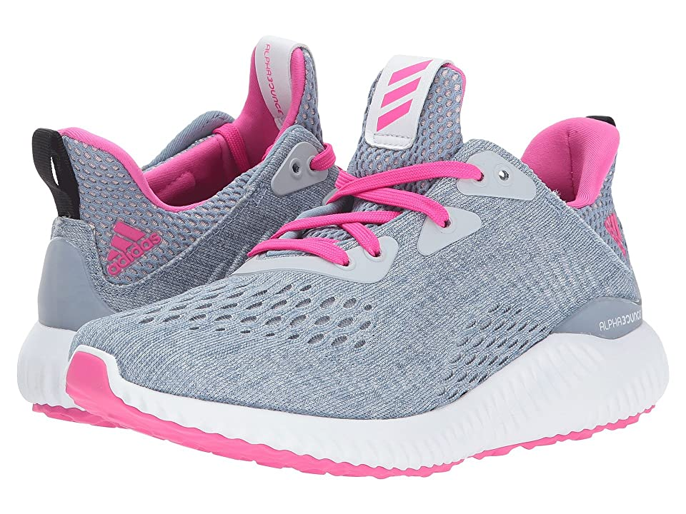 adidas Kids Alphabounce EM J (Big Kid) (Clear Grey/Shock Pink/Tactile Blue) Girls Shoes