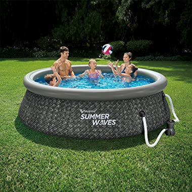 Summer Waves P1A01030A 10ft x 2.5ft Quick Set Ring Above Ground Inflatable Outdoor Swimming Pool with GFCI RX300 Filter Pump,