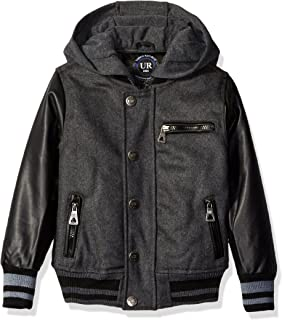 Urban Republic Boys' Wool Varsity Coat with Faux Leather Sleeves