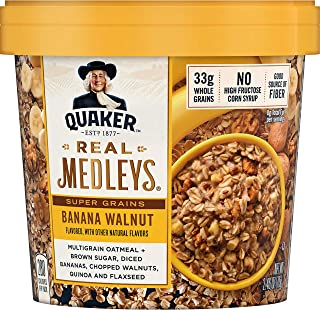 Quaker Real Medleys Super Grains Oatmeal+, Banana Walnut, Oatmeal Cups, 12 Count