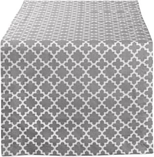 """DII Lattice Cotton Table Runner for Dining Room, Foyer Table, Spring Parties and Everyday Use - 14x108"""" 14x72"""" Gray CAMZ10489"""
