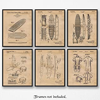 Original Surfboard Patent Poster Prints, Set of 6 (8x10) Unframed Photos, Wall Art Decor Gifts Under 20 for Home, Office, Garage, Beach Cabin, Man Cave, College Student, Teacher, Surfing & Hawaii Fan