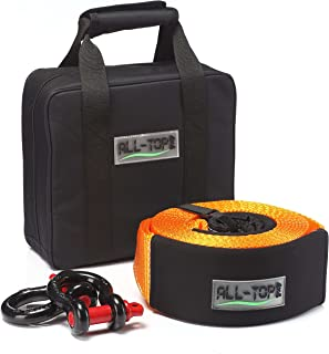 ALL-TOP Extreme Duty Tow Strap Recovery Kit : 4 inch x 20 ft (42,500 lbs) 100% Nylon and 22% Elongation Snatch Strap + 3/4 Extreme Duty D Ring Shackles (2pcs) + Storage Bag. A Must-Have KIT