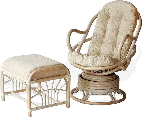 Java Swivel Rocking Chair White Wash White Cushion Handmade Natural Wicker Rattan Furniture Ottoman Krit White Wash