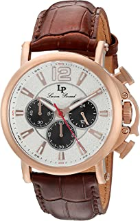Lucien Piccard Men's 'Triomf' Quartz Stainless Steel and Leather  Watch, Color:Brown (Model: LP-40018C-RG-02S)
