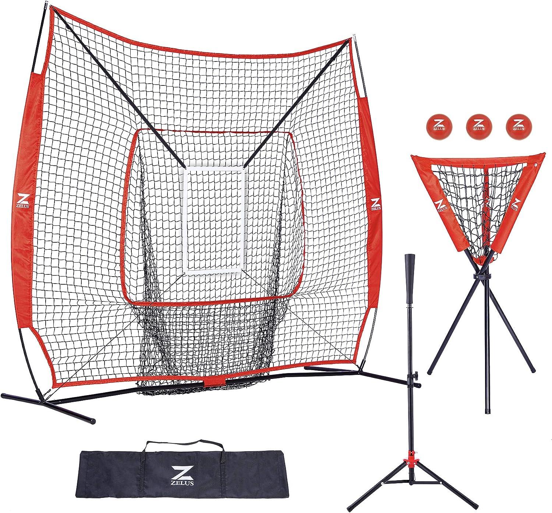 ZELUS 7x7ft Baseball and Softball Practice Net + Batting Tee + Ball Caddy + 3 Pack Weighted Ball + Strike Zone Bundle | Pitching Batting Training Equipment Set | Baseball Softball Coach Pack : Sports & Outdoors