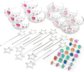 Best Princess Pretend Halloween Costume Dress Up Play Set - Crowns, Wands, and Jewels - Princess Girls Party Favors - Princess Costume Party Play Set, (12 Princess Crown Tiaras, 12 Wands, 24 Rings) Review