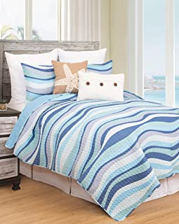 C&F Home Seawaves Sea Waves Ocean Coastal Full/Queen 3 Piece Nautical Beach Theme Quilt and 2 Shams Bedding Set Full/Queen 3 Piece Set Blue