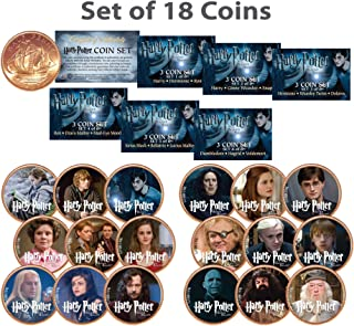 HARRY POTTER Deathly Hallows Colorized UK British Halfpenny ULTIMATE 18-Coin Set