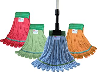 Microfiber Looped End Color Coded Wet Mop Kit - Includes (1) Of Each Color Wet Mops, Red, Blue, Green and Orange and (1) Aluminum Gripper Handle